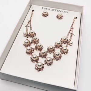 Jessica McClintock Rose Gold Necklace & Earrings